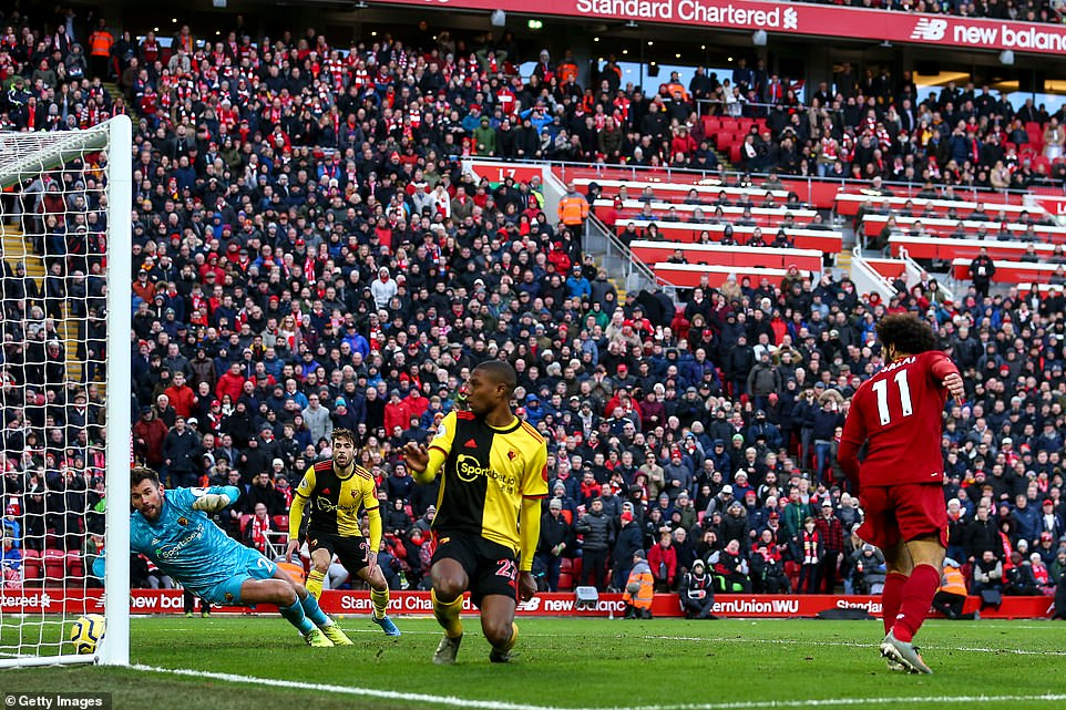 Salah made sure of Liverpool's victory with a clever flick towards the end of the game which Ben Foster was unable to stop