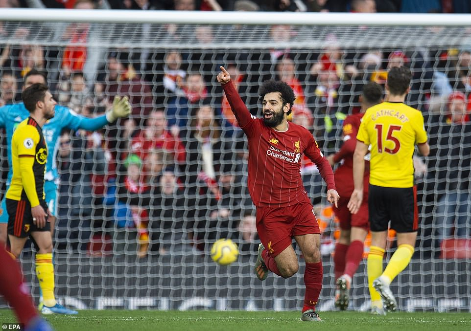Salah is jubilant after his goal, which was scored in the latter stages of the first half as Liverpool went in front against Watford