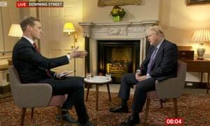 Boris Johnson being interviewed by Dan Walker (right).