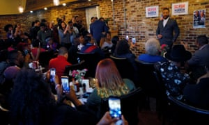 John Legend speaks to Warren supporters at D & B Fried Fish and Barbecue in Orangeburg, South Carolina, on Wednesday.