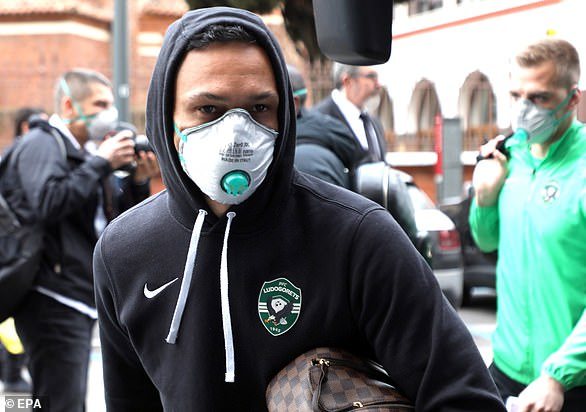 Ludogorets players were taking no chances after the coronavirus outbreak in Italy