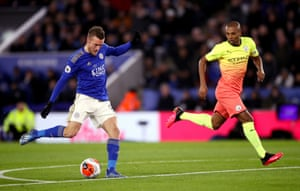 Leicester City's Jamie Vardy has a shot which hits the post.