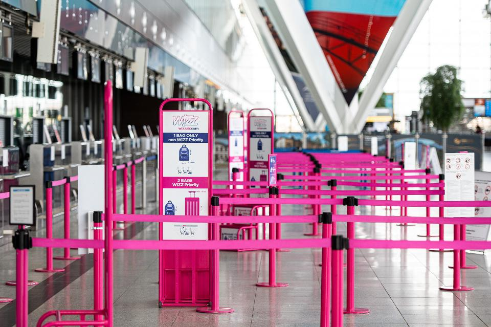 Empty Wizz Air check in positions the Gdansk Lech Walesa...