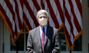 Dr Fauci listens as US President Trump holds coronavirus response event at the White House in Washington, 15 May 2020.