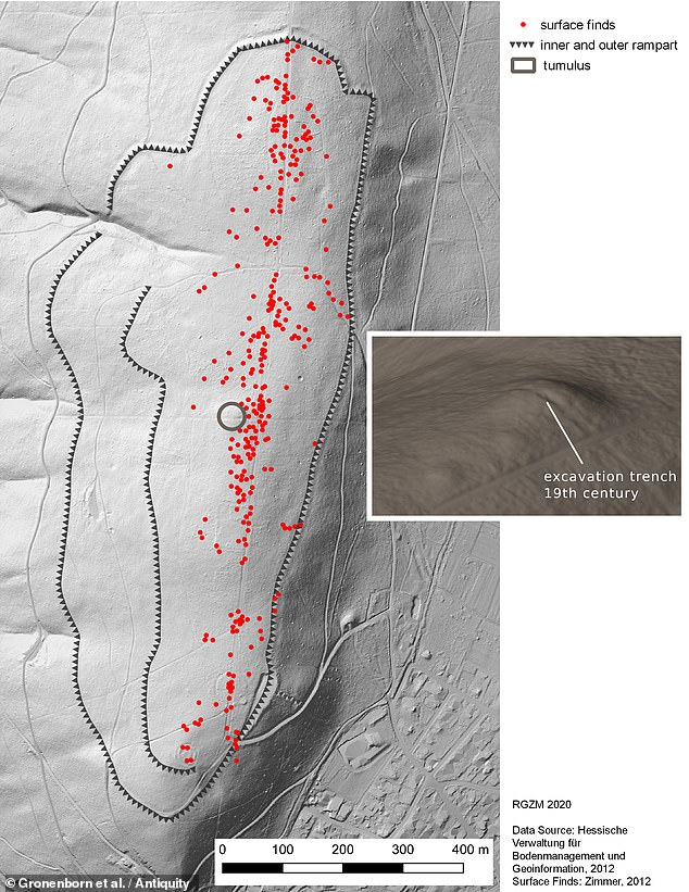 'The Kapellenberg tumulus indicates that a socio-political hierarchisation process linked to the emergence of high-ranking elites [...] had extended into western Central Europe,' the researchers wrote in the paper. Pictured, the site, with past finds marked in red