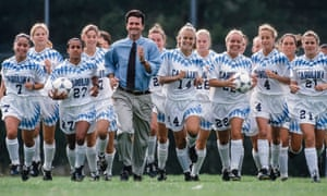 Anson Dorrance leads his Tar Heels in 1994.