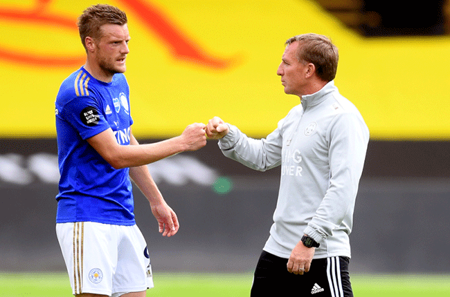 Jamie Vardy and Brendan Rodgers