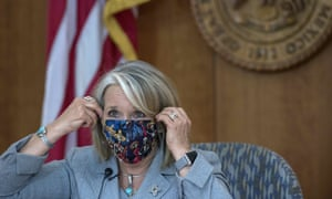 Michelle Lujan Grisham, governor of New Mexico, wearing a Dia de los Murtos mask at her weekly update on the Covid-19 emergency in Santa Fe.