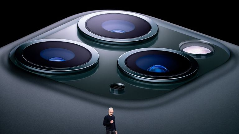 TOPSHOT - Apple CEO Tim Cook speaks on-stage during a product launch event at Apple's headquarters in Cupertino, California on September 10, 2019. - Apple unveiled its iPhone 11 models Tuesday, touting upgraded, ultra-wide cameras as it updated its popular smartphone lineup and cut its entry price to $699. (Photo by Josh Edelson / AFP) (Photo by JOSH EDELSON/AFP via Getty Images)