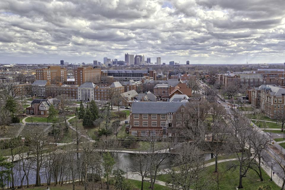 Columbus, Ohio with Ohio State University in the foreground