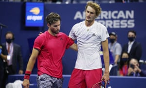 Alexander Zverev embraces Dominic Thiem at the end of the match