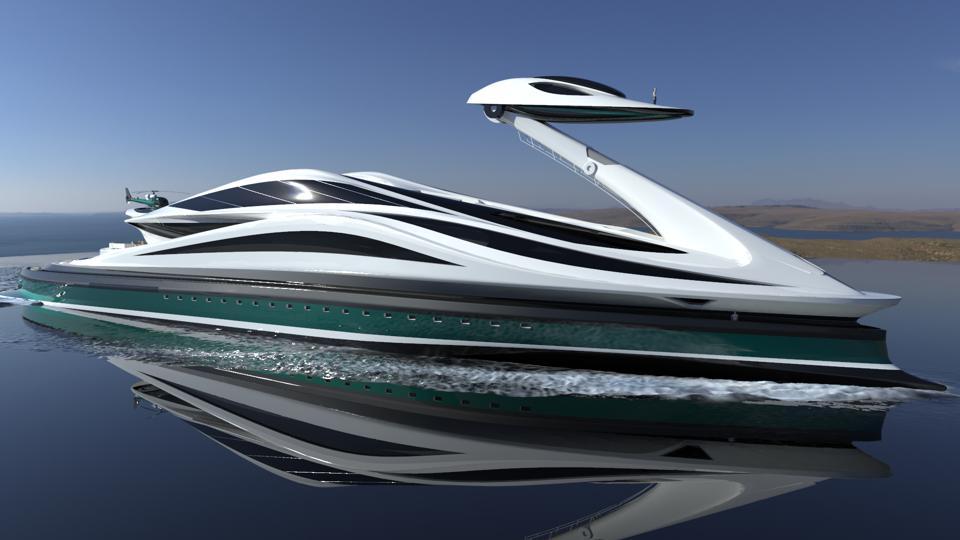 The swan-shaped Avanguardia concept megayacht by Lazzarini Design Studio