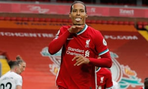 Liverpool v Leeds United, Premier League<br>12.09.20 Liverpool v Leeds United, Premier League. Picture By Tom Jenkins / NMC Pool Virgil van Dijk of Liverpool scores and celebrates scoring his teams 2nd goal