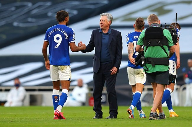 Everton manager Carlo Ancelotti celebrates with Dominic Calvert-Lewin after the Premier League match against Tottenham Hotspur in London on 13 September 2020.