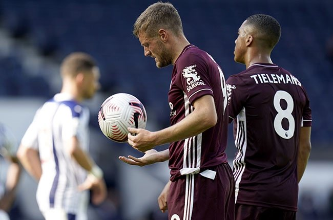 Leicester City's Jamie Vardy prepares to take his second penalty during the Premier League match against West Bromwich Albion at The Hawthorns on 13 September 2020.