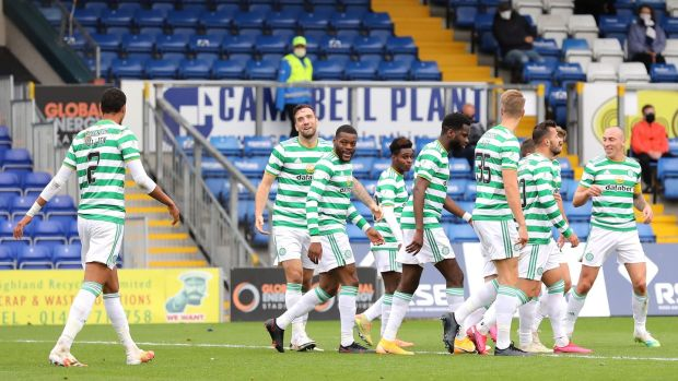 Celtic celebrate Shane Duffy's goal in their 5-0 rout over Ross County. Photograph: Paul Campbell/Getty