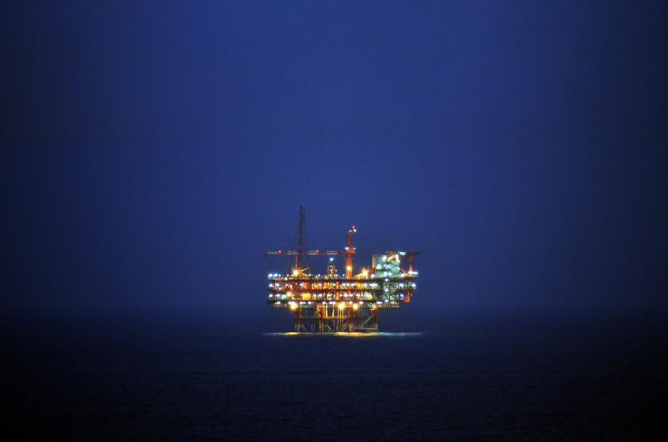 An Offshore Wellhead cum processing Plant in the east coast KG basin during dusk