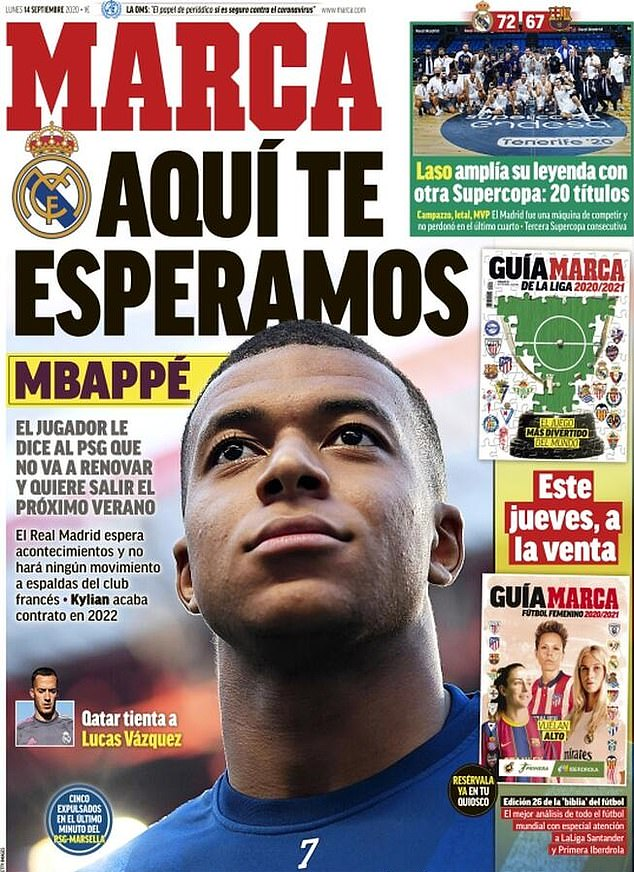 Marca ran the headline: 'We are waiting for you Mbappe', alongside the Real Madrid badge