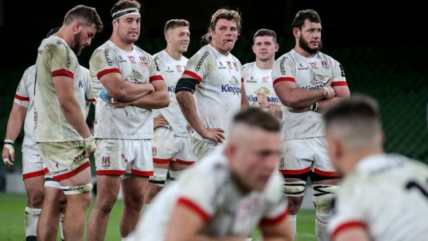 Dejected Ulster players after their defeat to Leinster. Photograph: Dan Sheridan/Inpho