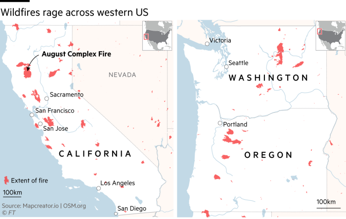 Map showing locations of wildfires in western US