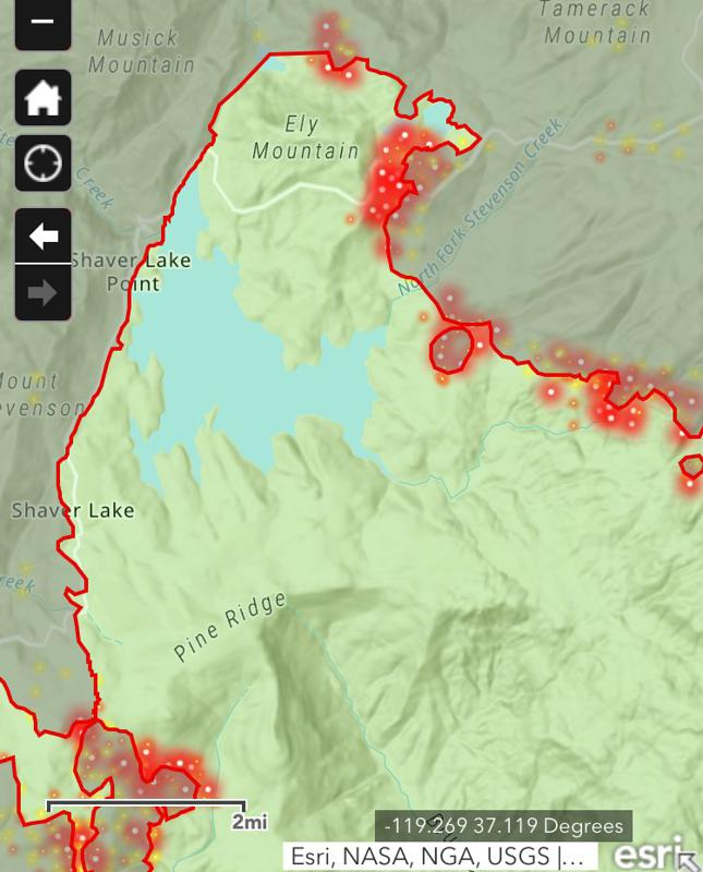 Fires around Shaver Lake forests