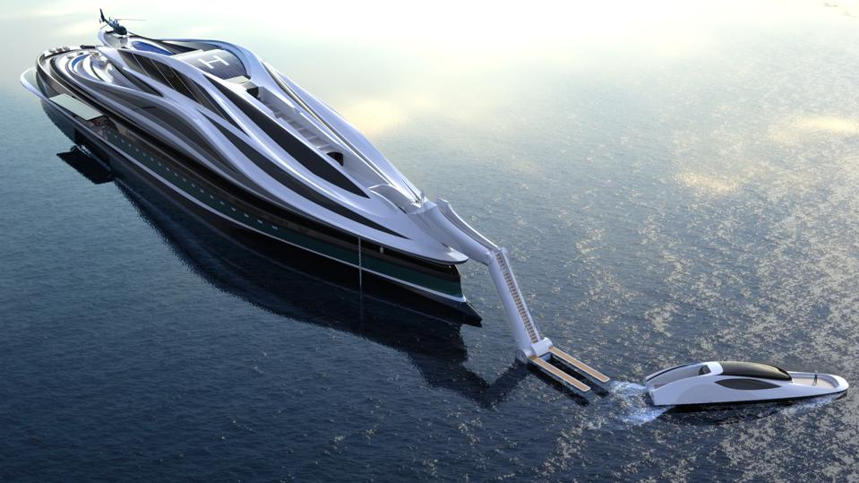 The head of the Avanguardia concept yacht detaches, becoming a tender boat