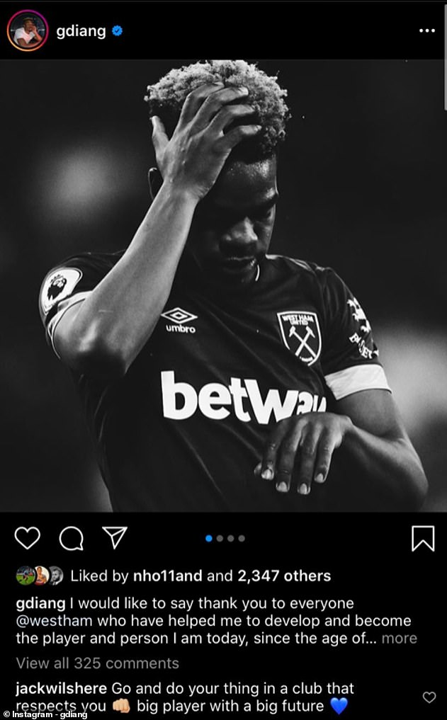 West Ham midfielderJack Wilshere also commented on Diangana's Instagram post after exit