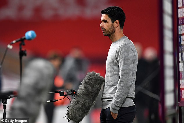 With Arsenal losing 2-1 at the time, Mikel Arteta (above) described the miss as a major moment