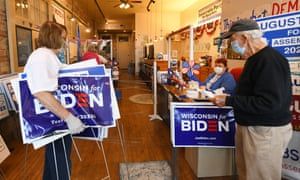The recently reopened Racine county Democratic party headquarters in Wisconsin. Both campaigns will spend big in battleground states such as Wisconsin.