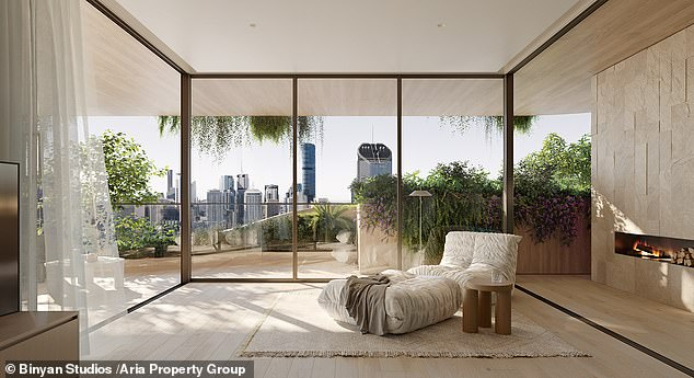 A rendering of an apartment in Brisbane's Urban Forest high-rise. 'Concrete, steel and glass are very hard and solid industrial materials. Let's call them dead materiality,' said architect Koichi Takada. 'We need to be embracing more living materiality, living architecture'
