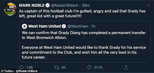Captain Mark Noble was left seething with the club after wingerGrady Diangana was sold