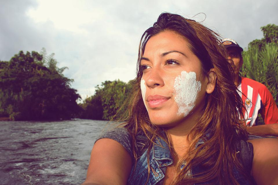 During her time in Ecuador, Stephanie Flor applied some volcanic mud to her skin.