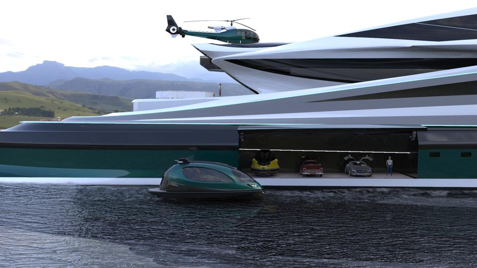 A Jet Capsule sails in front of the Avanguardia yacht's car garage and helipad