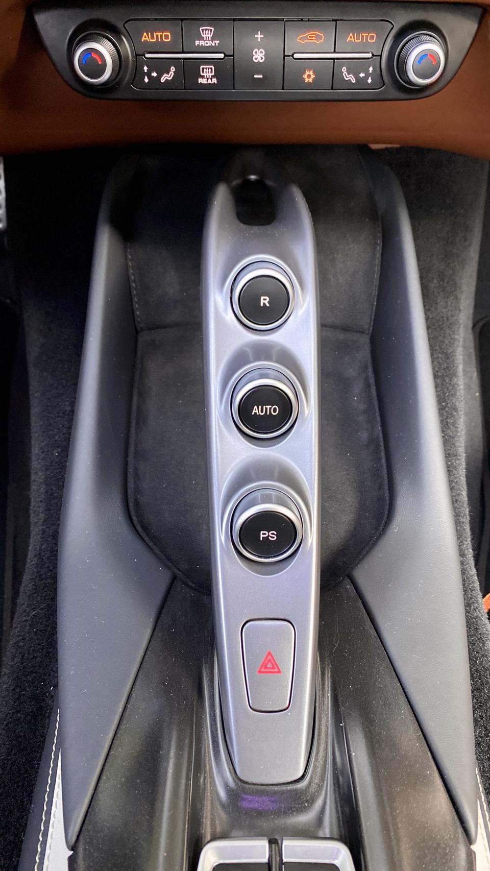 Ferrari Arch: Launch Control, Automatic, and Reverse.