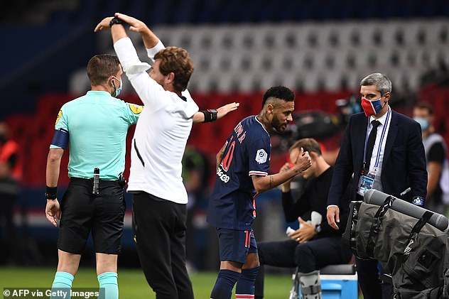 Neymar protested after his dismissal, alleging that Gonzalez had racially abused him