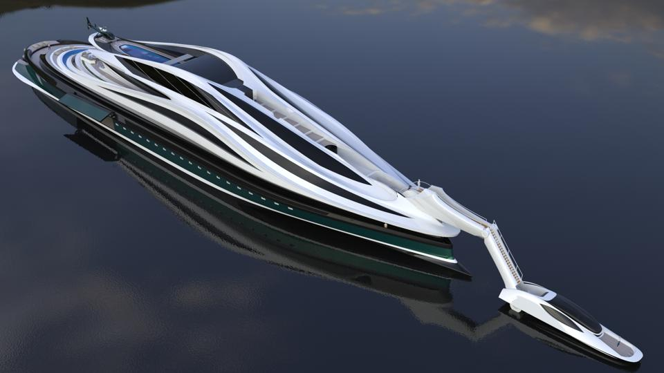 The neck folds down on the swan-shaped Avanguardia concept yacht by Lazzarini