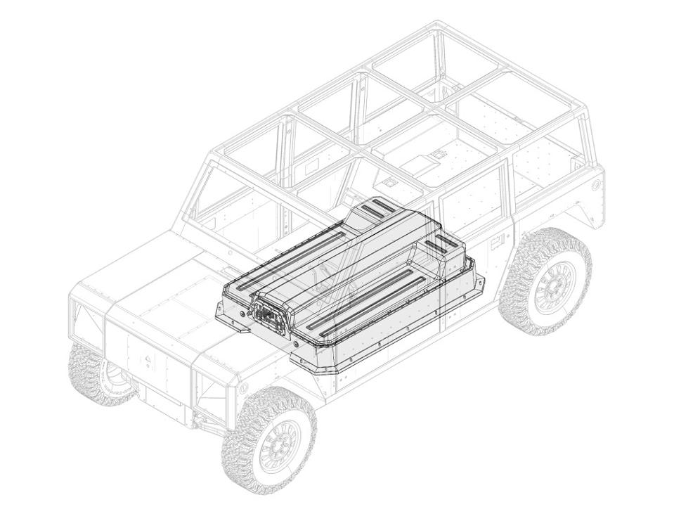 Greyscale schematic of Bollinger Motors' streamlined battery pack.