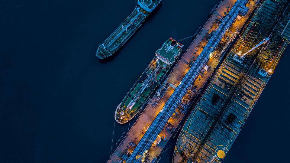 Aerial view Crude oil tanker