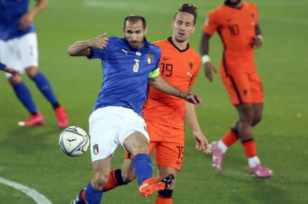 Giorgio Chiellini in action during Italy's 1-1 draw with the Netherlands. Roberto Mancini's side look defensively strong.