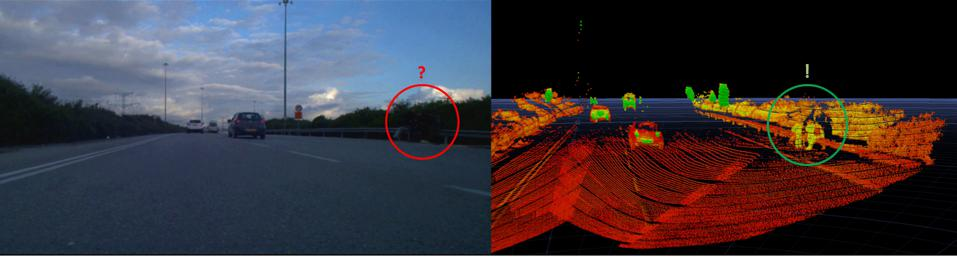 In challenging lighting conditions, additional sensors like lidar can help an automated driving perception system see far more than is possible with a camera