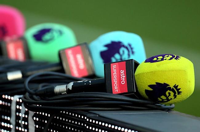 Premier League branded microphones (Press Association)
