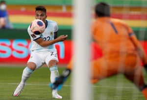 Lautaro Martínez in action for Argentina against Bolivia. He scored their first goal and set up the second.