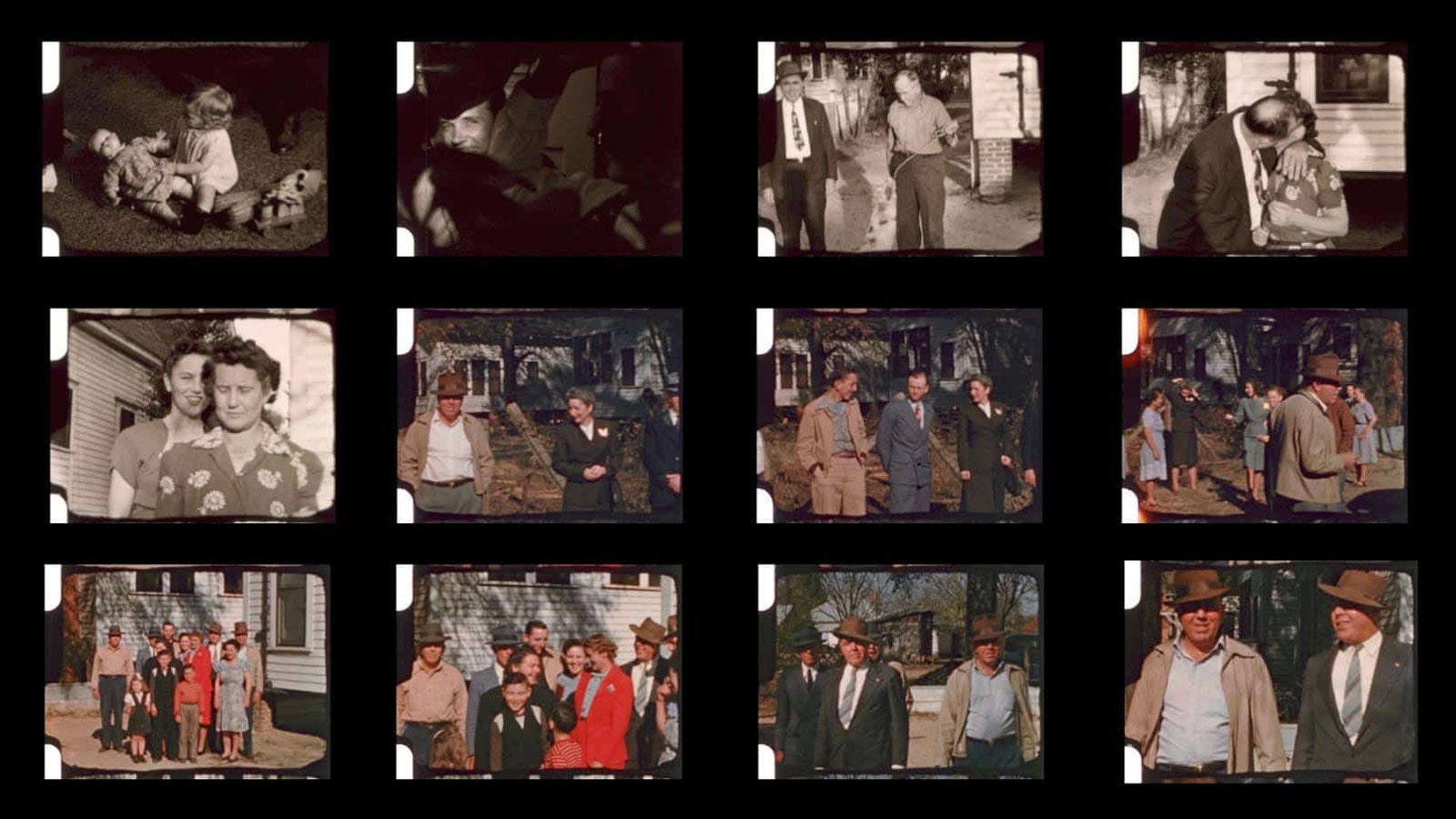 A contact sheet featuring photos of various white people.