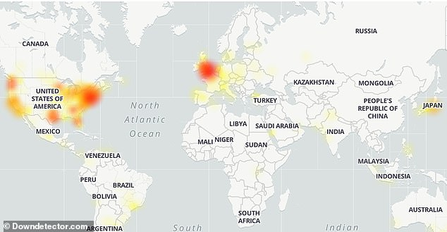 An outage map shows the outage is hitting more US users, with some experiencing problems in the US and other parts of the world
