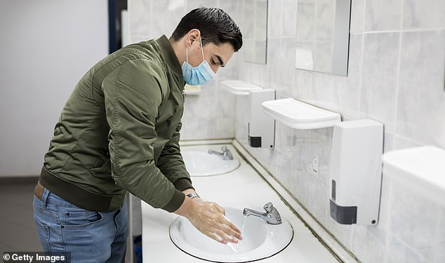 White males between ages 18 and 24 were the least likely to report washing their hands before eating, after using the bathroom or blowing noses, a new CDC report finds (file image)