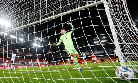 Germany concede the first of three goals against Switzerland. They also drew 3-3 with Turkey.