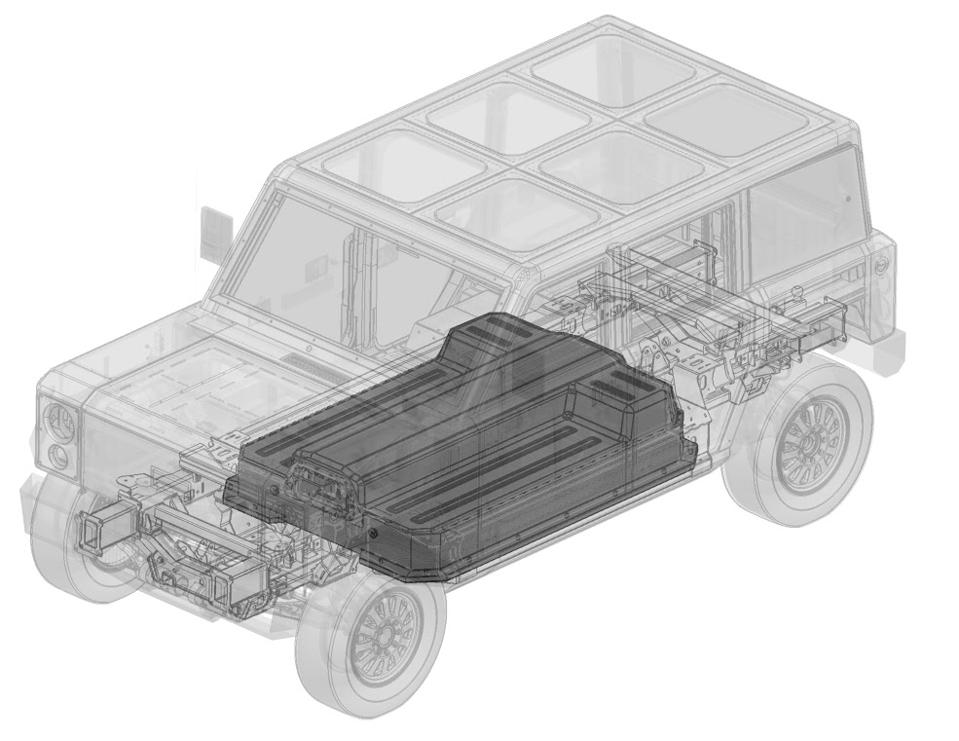 Bollinger Motors streamlined battery pack patent drawing.