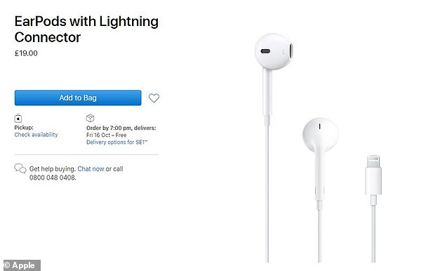 A Lightning to USB-C cable is included in the iPhone 12 box but users who want a pair of EarPods (pictured) will have to buy them separately, which Apple flogs for £19 ($19) a pop
