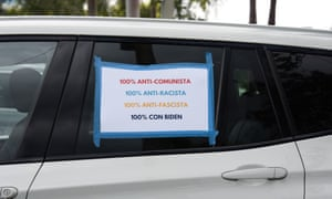 Cars show their support of Biden and Harris at a 'Rally For the Latino Vote' in Miami last month.