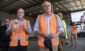 Prime minister Scott Morrison tours the CSF Industries engineering factory in Cairns, Thursday, 15 October 2020.